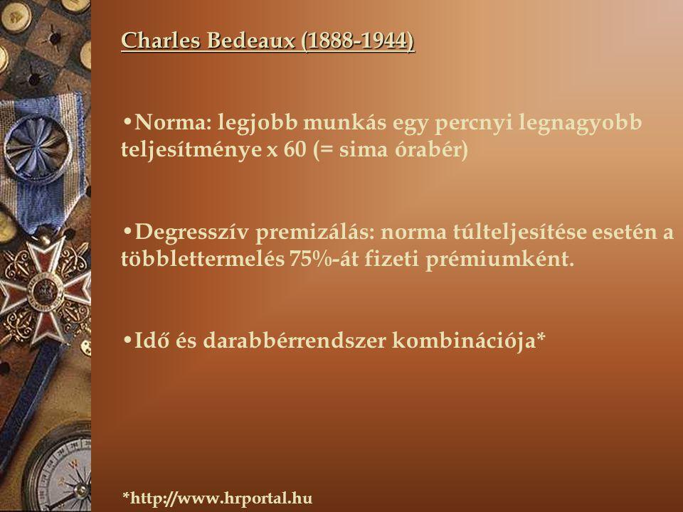 Charles Bedeaux (1888-1944) Norma: legjobb munkás egy percnyi legnagyobb teljesítménye x 60 (= sima órabér) Degresszív premizálás: norma túlteljesítése esetén a többlettermelés 75%-át fizeti prémiumként.
