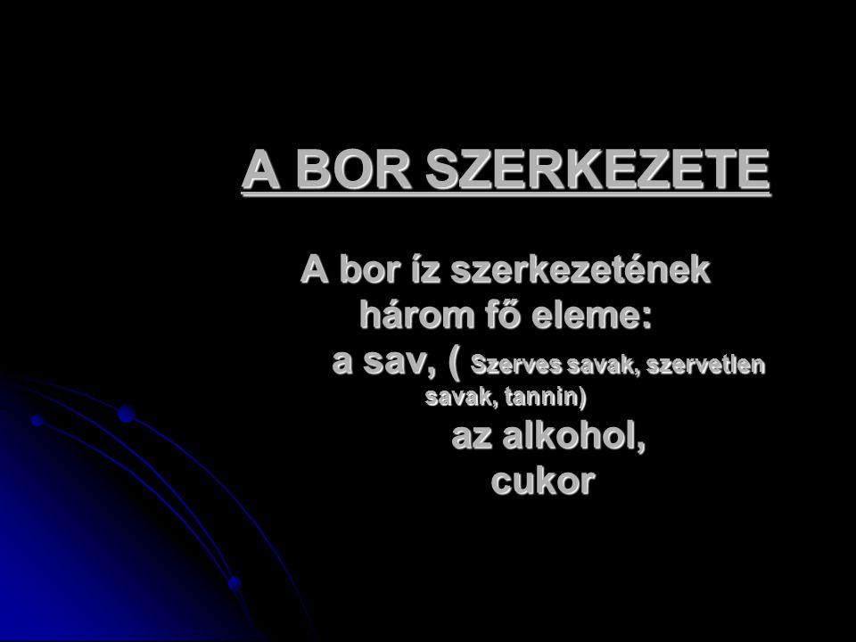A BOR SZERKEZETE A bor íz szerkezetének három fő eleme: a sav, ( Szerves savak, szervetlen savak, tannin) az alkohol, cukor