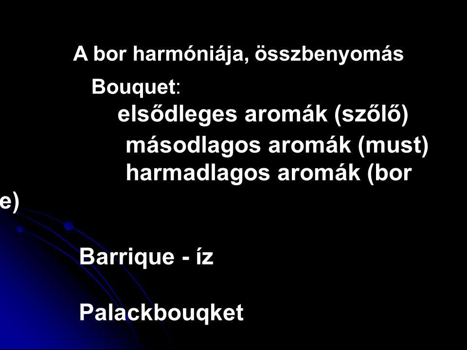 A bor harmóniája, összbenyomás Bouquet: elsődleges aromák (szőlő) másodlagos aromák (must) harmadlagos aromák (bor érzése) Barrique - íz Palackbouqket