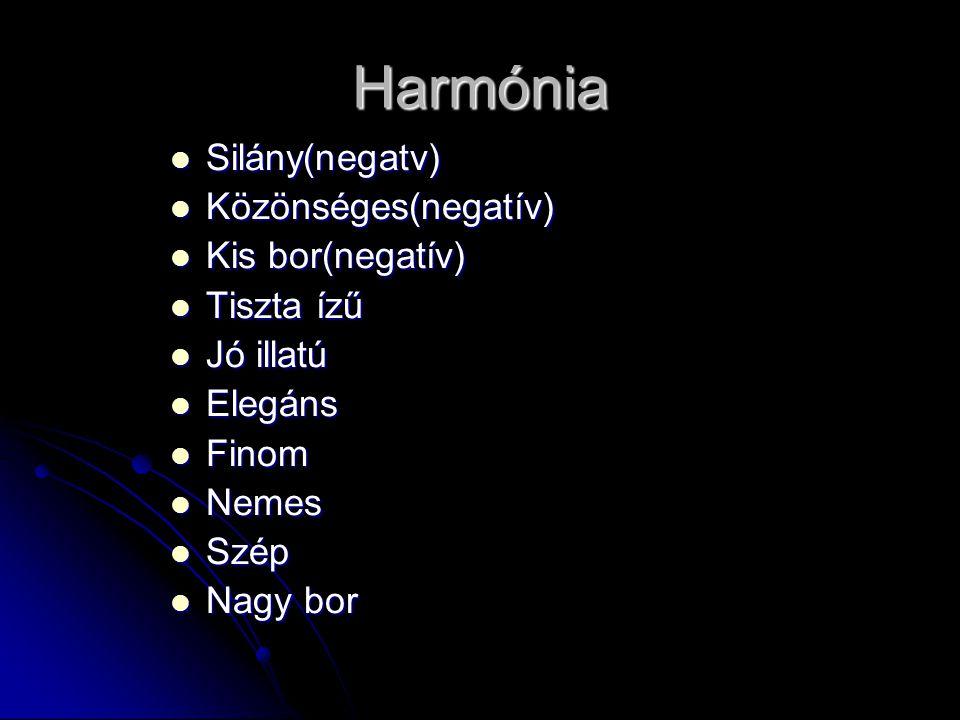 Harmónia Silány(negatv) Silány(negatv) Közönséges(negatív) Közönséges(negatív) Kis bor(negatív) Kis bor(negatív) Tiszta ízű Tiszta ízű Jó illatú Jó il