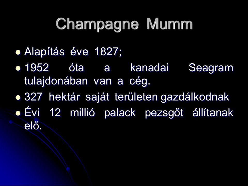 Champagne Mumm Alapítás éve 1827; Alapítás éve 1827; 1952 óta a kanadai Seagram tulajdonában van a cég. 1952 óta a kanadai Seagram tulajdonában van a