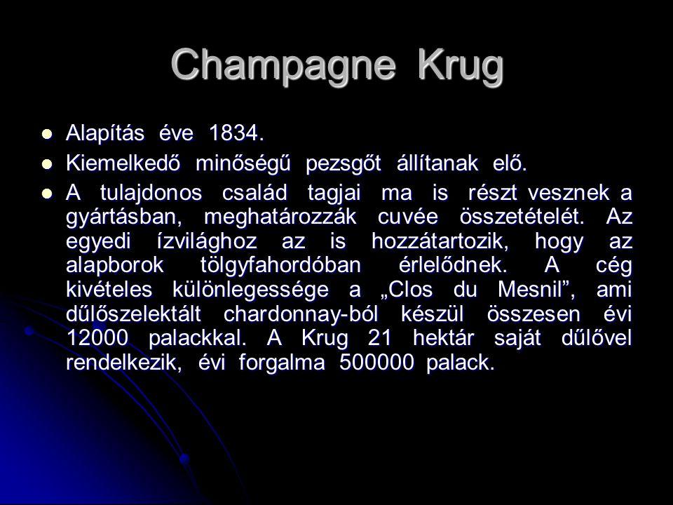 Champagne Krug Alapítás éve 1834. Alapítás éve 1834. Kiemelkedő minőségű pezsgőt állítanak elő. Kiemelkedő minőségű pezsgőt állítanak elő. A tulajdono