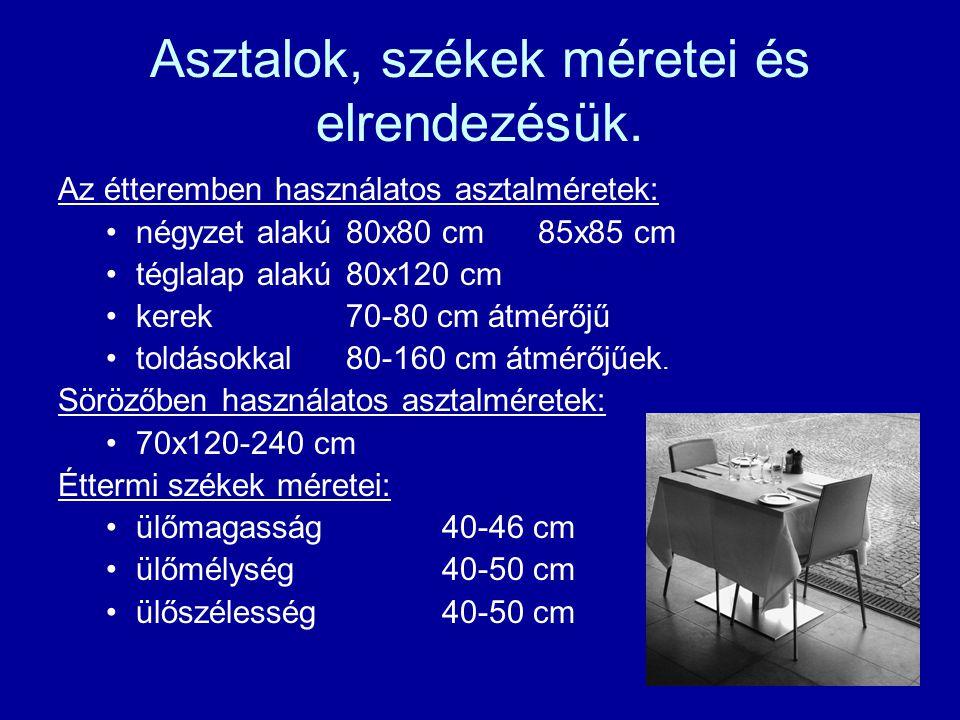 Asztalok, székek méretei és elrendezésük. Az étteremben használatos asztalméretek: négyzet alakú80x80 cm85x85 cm téglalap alakú80x120 cm kerek70-80 cm