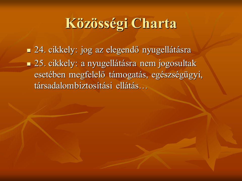 Közösségi Charta 24.cikkely: jog az elegendő nyugellátásra 24.