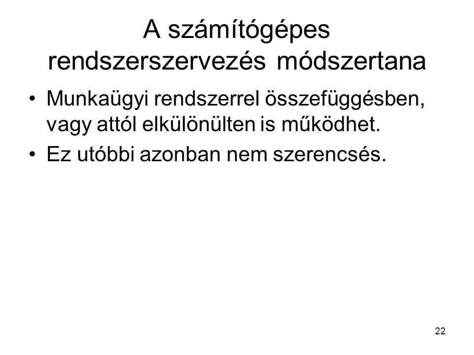 22 A számítógépes rendszerszervezés módszertana Munkaügyi rendszerrel összefüggésben, vagy attól elkülönülten is működhet.