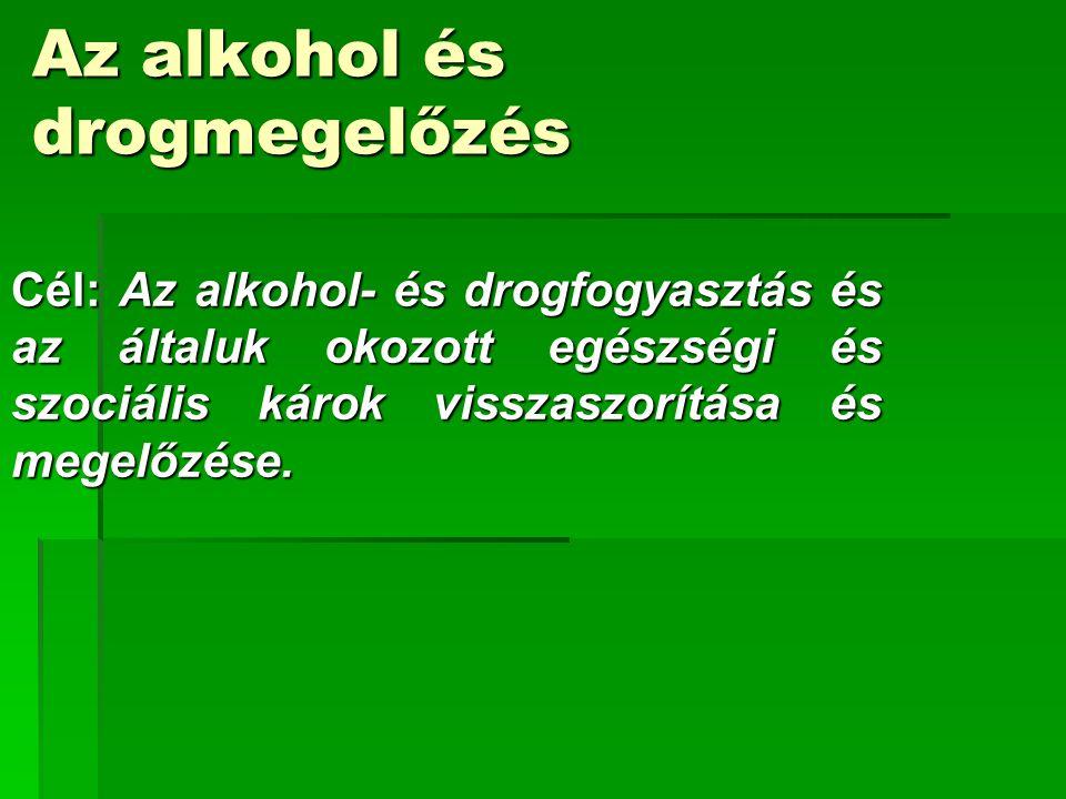 Az alkohol és drogmegelőzés Cél: Az alkohol- és drogfogyasztás és az általuk okozott egészségi és szociális károk visszaszorítása és megelőzése.
