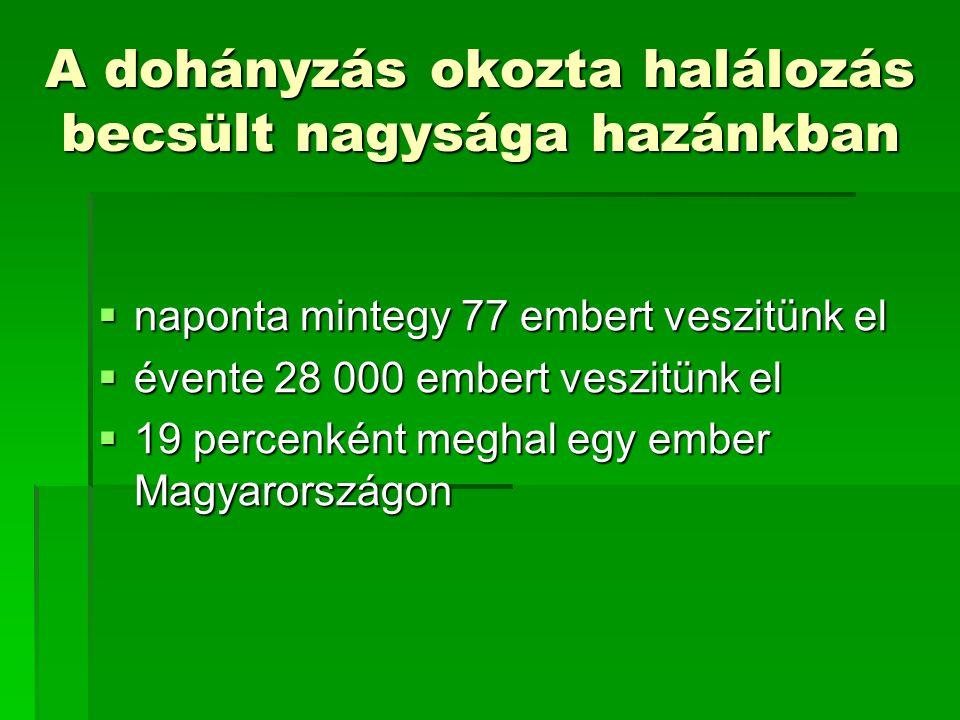 A dohányzás okozta halálozás becsült nagysága hazánkban  naponta mintegy 77 embert veszitünk el  évente 28 000 embert veszitünk el  19 percenként meghal egy ember Magyarországon