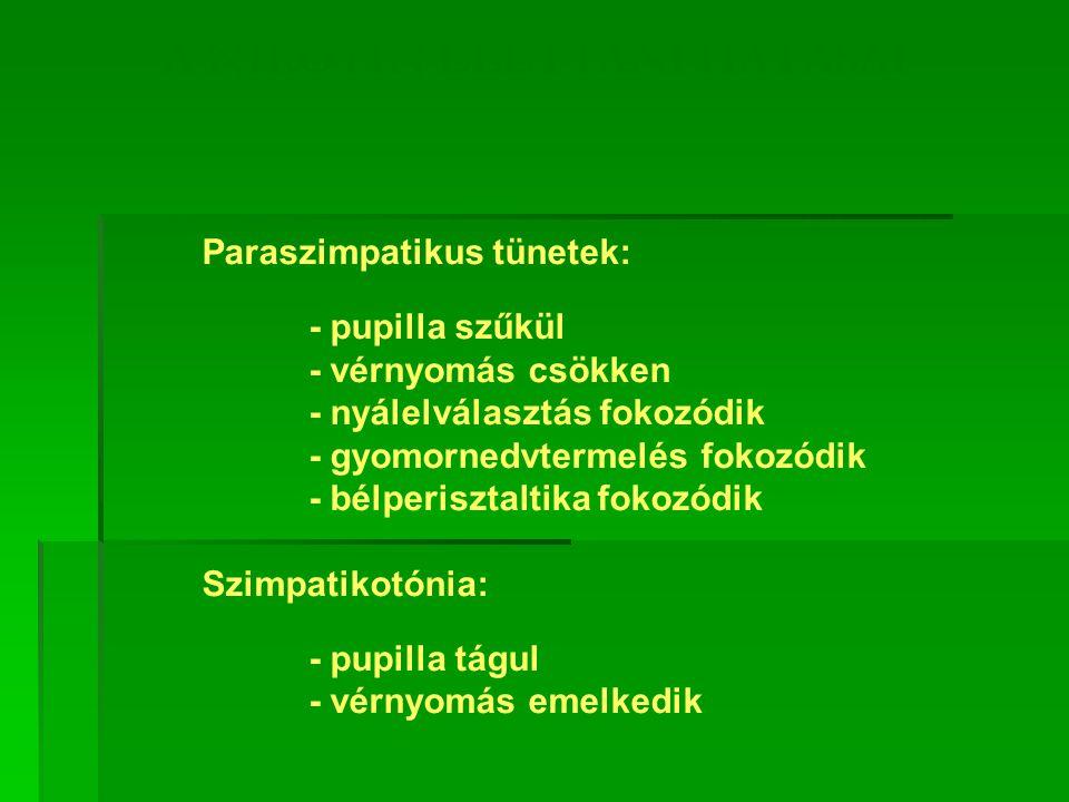 A NIKOTIN ÉLETTANI HATÁSAI Paraszimpatikus tünetek: - pupilla szűkül - vérnyomás csökken - nyálelválasztás fokozódik - gyomornedvtermelés fokozódik - bélperisztaltika fokozódik Szimpatikotónia: - pupilla tágul - vérnyomás emelkedik