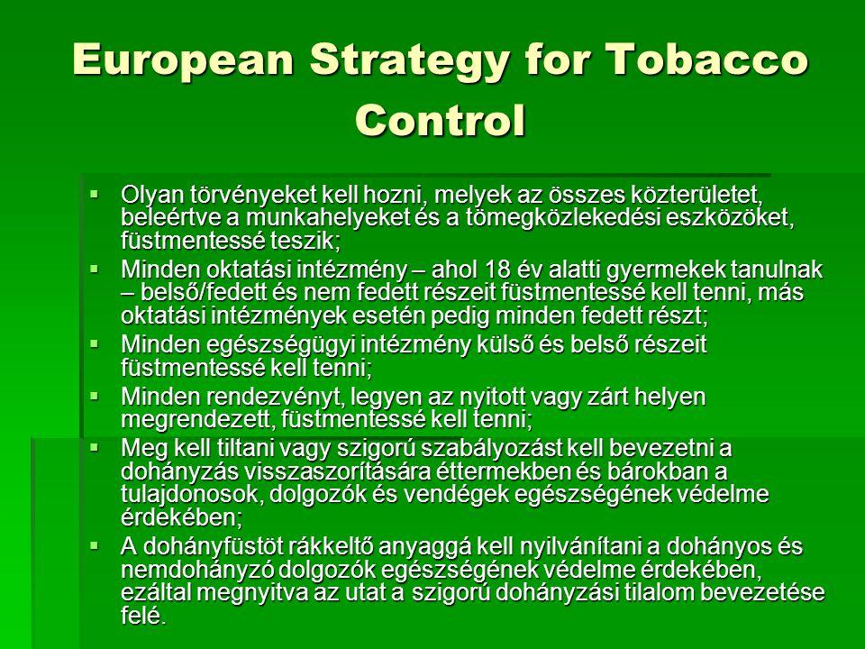 European Strategy for Tobacco Control  Olyan törvényeket kell hozni, melyek az összes közterületet, beleértve a munkahelyeket és a tömegközlekedési eszközöket, füstmentessé teszik;  Minden oktatási intézmény – ahol 18 év alatti gyermekek tanulnak – belső/fedett és nem fedett részeit füstmentessé kell tenni, más oktatási intézmények esetén pedig minden fedett részt;  Minden egészségügyi intézmény külső és belső részeit füstmentessé kell tenni;  Minden rendezvényt, legyen az nyitott vagy zárt helyen megrendezett, füstmentessé kell tenni;  Meg kell tiltani vagy szigorú szabályozást kell bevezetni a dohányzás visszaszorítására éttermekben és bárokban a tulajdonosok, dolgozók és vendégek egészségének védelme érdekében;  A dohányfüstöt rákkeltő anyaggá kell nyilvánítani a dohányos és nemdohányzó dolgozók egészségének védelme érdekében, ezáltal megnyitva az utat a szigorú dohányzási tilalom bevezetése felé.