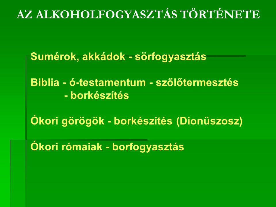 AZ ALKOHOLFOGYASZTÁS TÖRTÉNETE Sumérok, akkádok - sörfogyasztás Biblia - ó-testamentum - szőlőtermesztés - borkészítés Ókori görögök - borkészítés (Dionüszosz) Ókori rómaiak - borfogyasztás