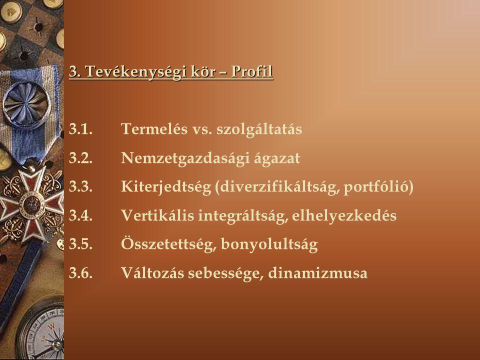 3. Tevékenységi kör – Profil 3.1. Termelés vs. szolgáltatás 3.2. Nemzetgazdasági ágazat 3.3. Kiterjedtség (diverzifikáltság, portfólió) 3.4. Vertikáli