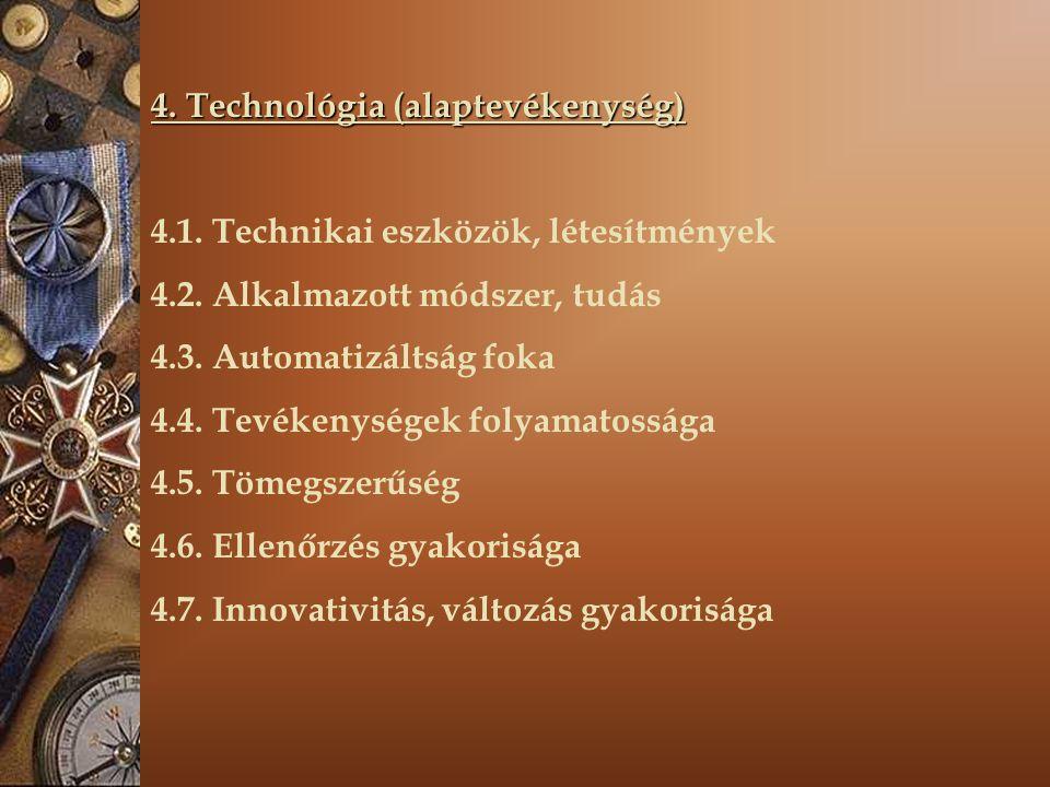 4. Technológia (alaptevékenység) 4.1. Technikai eszközök, létesítmények 4.2. Alkalmazott módszer, tudás 4.3. Automatizáltság foka 4.4. Tevékenységek f
