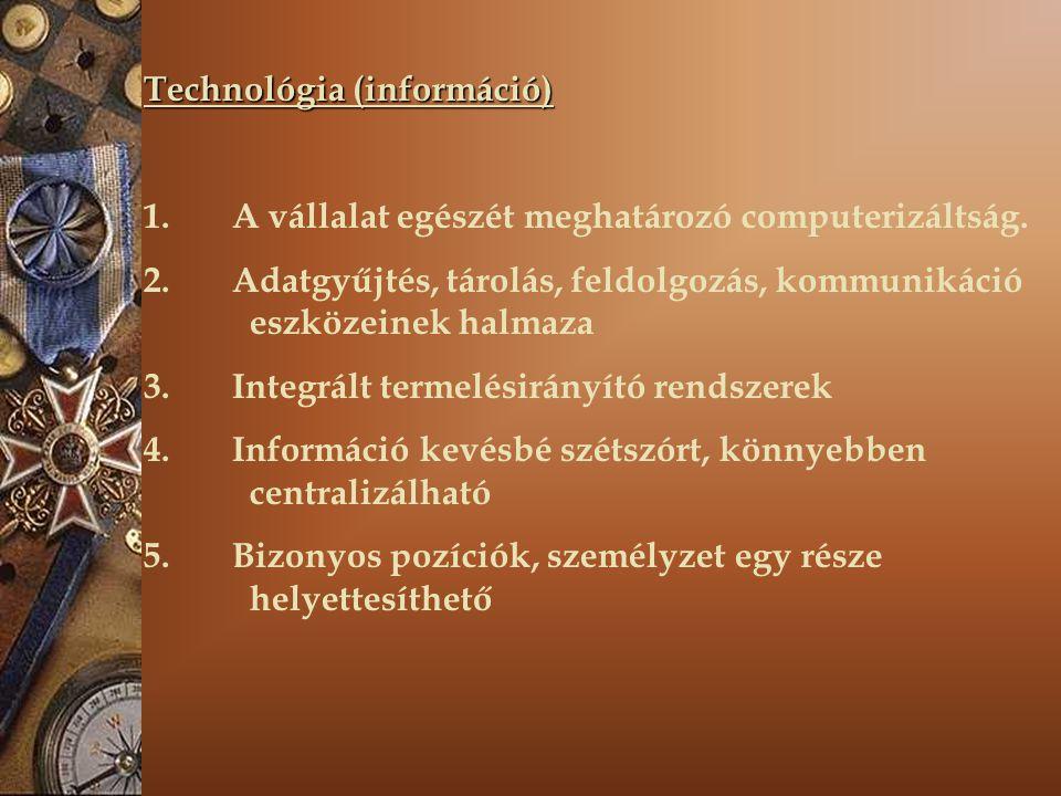 Technológia (információ) 1. A vállalat egészét meghatározó computerizáltság. 2. Adatgyűjtés, tárolás, feldolgozás, kommunikáció eszközeinek halmaza 3.
