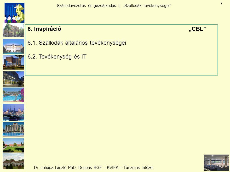 """Dr. Juhász László PhD, Docens BGF – KVIFK – Turizmus Intézet Szállodavezetés és gazdálkodás I. """"Szállodák tevékenységei"""" 7 6. Inspiráció""""CBL"""" 6.1. Szá"""