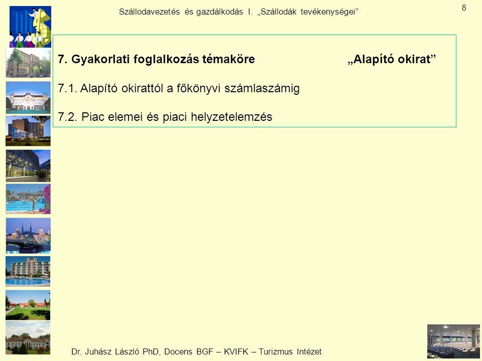 """Dr. Juhász László PhD, Docens BGF – KVIFK – Turizmus Intézet Szállodavezetés és gazdálkodás I. """"Szállodák tevékenységei"""" 8 7. Gyakorlati foglalkozás t"""