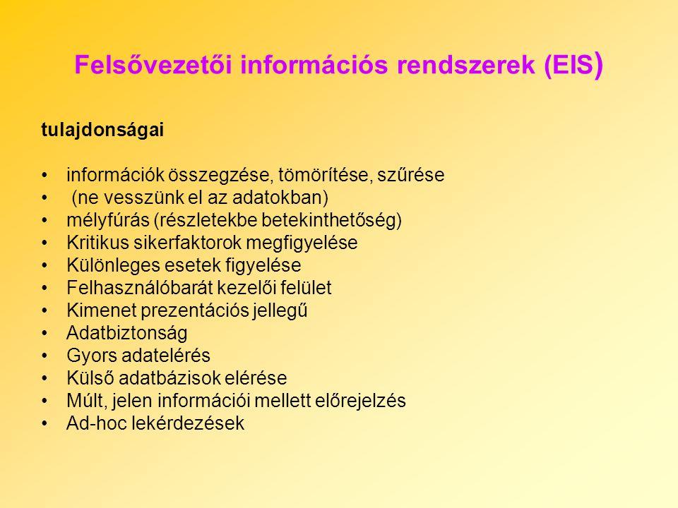 Felsővezetői információs rendszerek (EIS ) tulajdonságai információk összegzése, tömörítése, szűrése (ne vesszünk el az adatokban) mélyfúrás (részlete