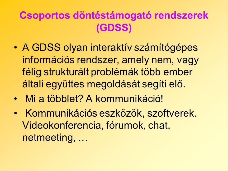 Csoportos döntéstámogató rendszerek (GDSS) A GDSS olyan interaktív számítógépes információs rendszer, amely nem, vagy félig strukturált problémák több ember általi együttes megoldását segíti elő.