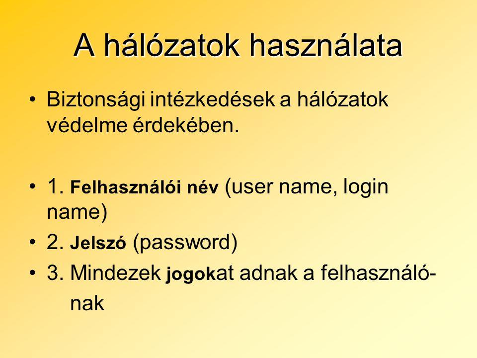 A hálózatok használata Biztonsági intézkedések a hálózatok védelme érdekében. 1. Felhasználói név (user name, login name) 2. Jelszó (password) 3. Mind