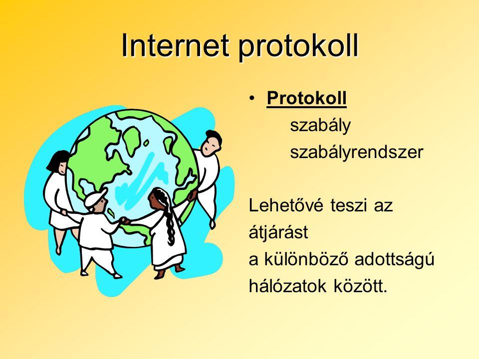 Internet protokoll Protokoll szabály szabályrendszer Lehetővé teszi az átjárást a különböző adottságú hálózatok között.