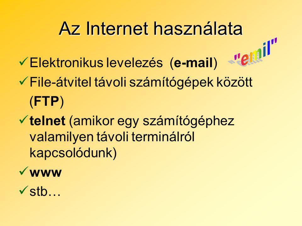 Az Internet használata Elektronikus levelezés (e-mail) File-átvitel távoli számítógépek között (FTP) telnet (amikor egy számítógéphez valamilyen távol