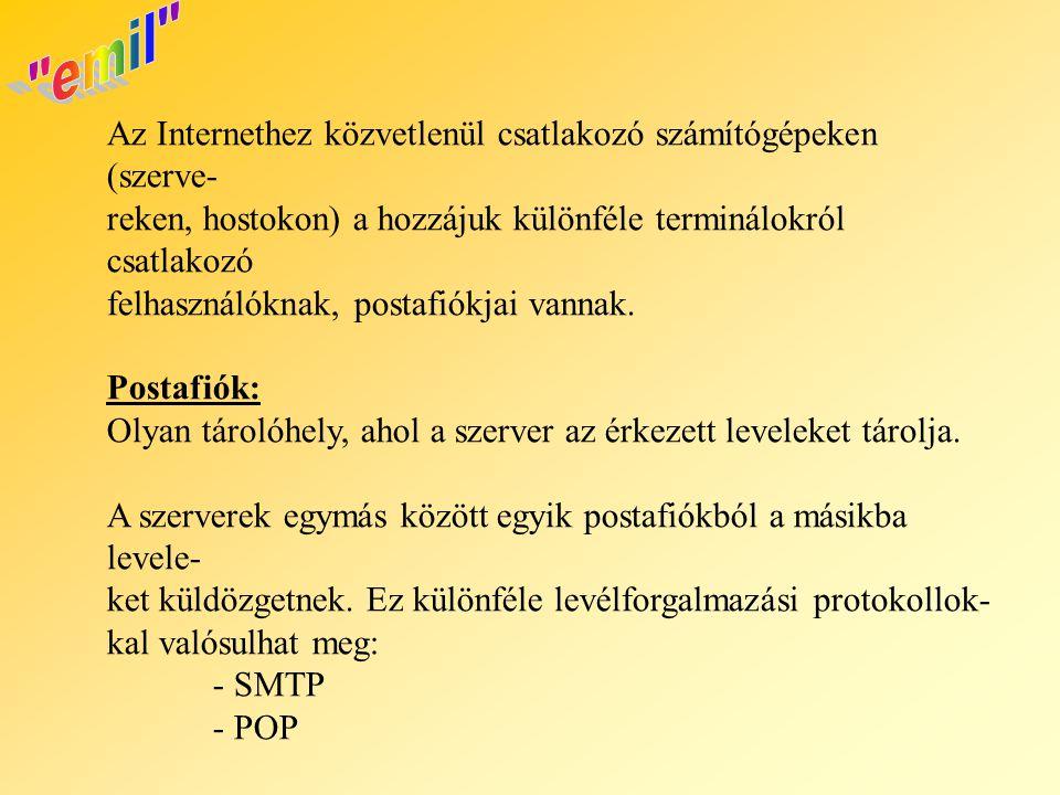 Az Internethez közvetlenül csatlakozó számítógépeken (szerve- reken, hostokon) a hozzájuk különféle terminálokról csatlakozó felhasználóknak, postafió