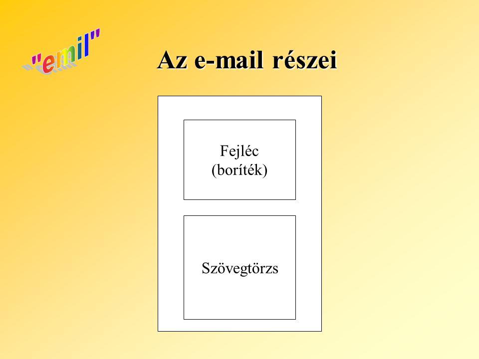 Az e-mail részei Fejléc (boríték) Szövegtörzs