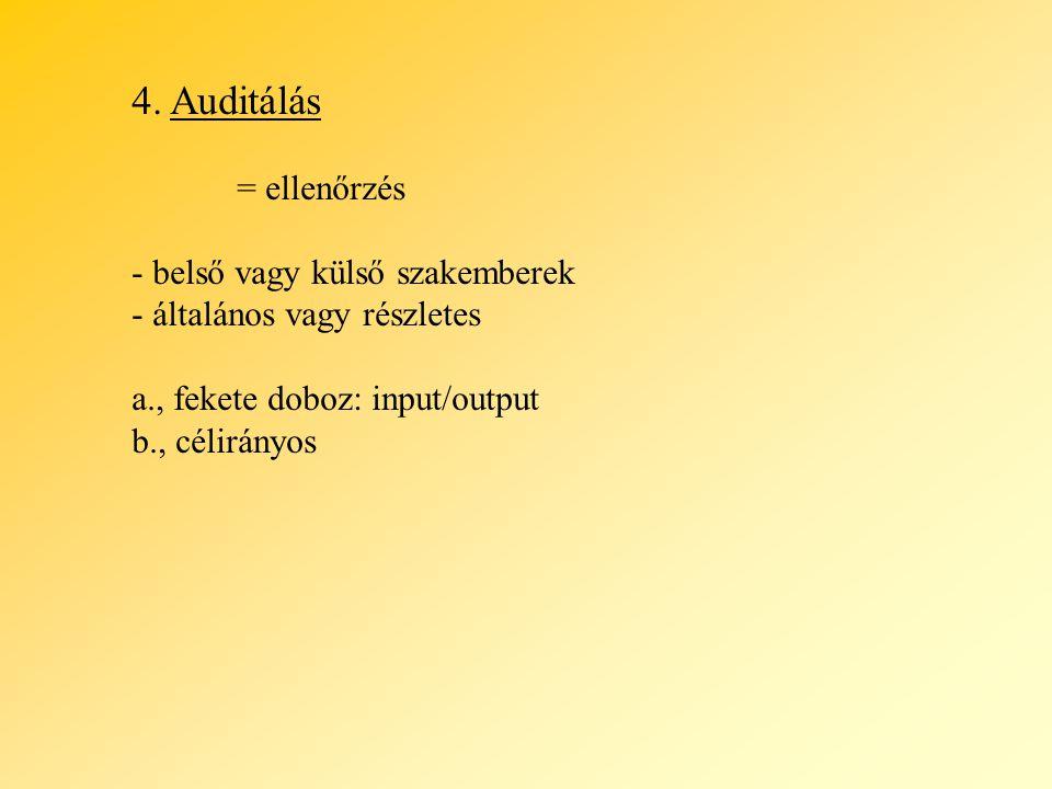 4. Auditálás = ellenőrzés - belső vagy külső szakemberek - általános vagy részletes a., fekete doboz: input/output b., célirányos