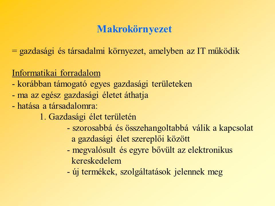 Makrokörnyezet = gazdasági és társadalmi környezet, amelyben az IT működik Informatikai forradalom - korábban támogató egyes gazdasági területeken - m