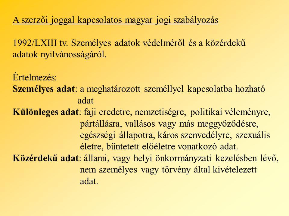 A szerzői joggal kapcsolatos magyar jogi szabályozás 1992/LXIII tv. Személyes adatok védelméről és a közérdekű adatok nyilvánosságáról. Értelmezés: Sz