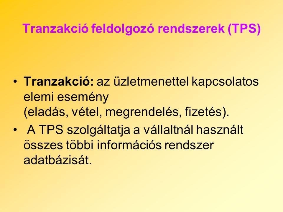 Tranzakció feldolgozó rendszerek (TPS) Tranzakció: az üzletmenettel kapcsolatos elemi esemény (eladás, vétel, megrendelés, fizetés). A TPS szolgáltatj