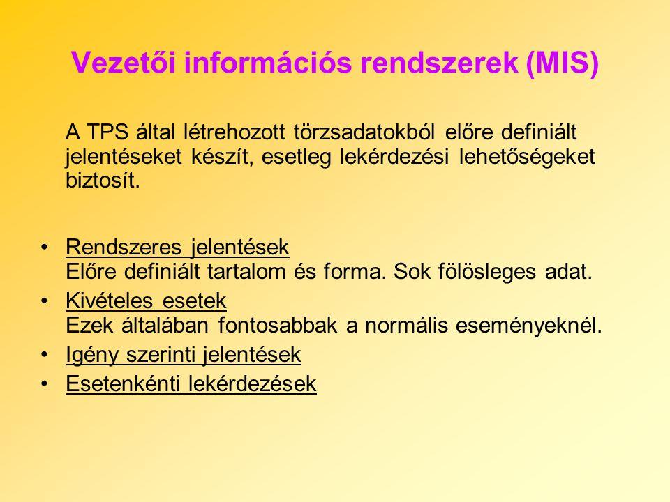 Vezetői információs rendszerek (MIS) A TPS által létrehozott törzsadatokból előre definiált jelentéseket készít, esetleg lekérdezési lehetőségeket biz