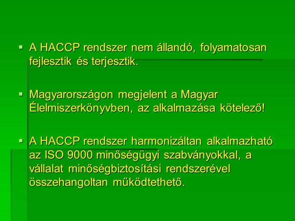  A HACCP rendszer nem állandó, folyamatosan fejlesztik és terjesztik.  Magyarországon megjelent a Magyar Élelmiszerkönyvben, az alkalmazása kötelező