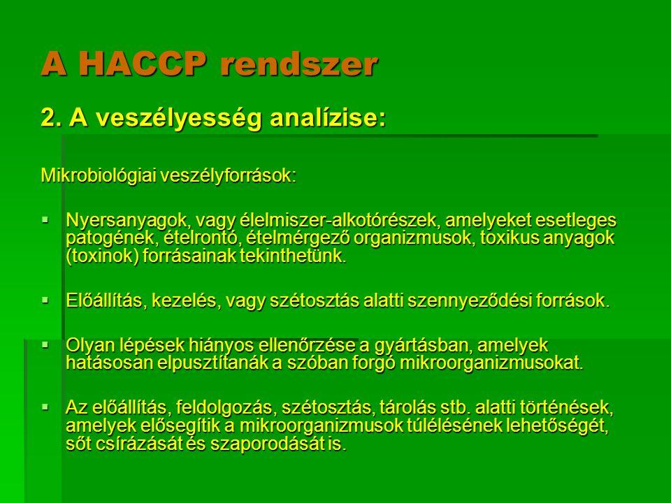 A HACCP rendszer 2. A veszélyesség analízise: Mikrobiológiai veszélyforrások:  Nyersanyagok, vagy élelmiszer-alkotórészek, amelyeket esetleges patogé