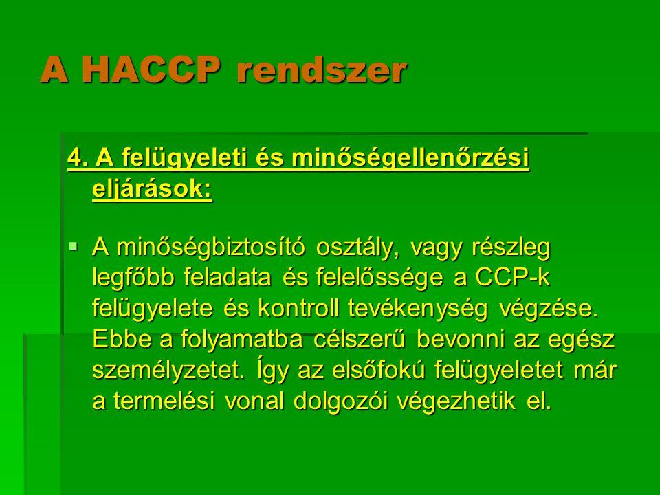 A HACCP rendszer 4. A felügyeleti és minőségellenőrzési eljárások:  A minőségbiztosító osztály, vagy részleg legfőbb feladata és felelőssége a CCP-k