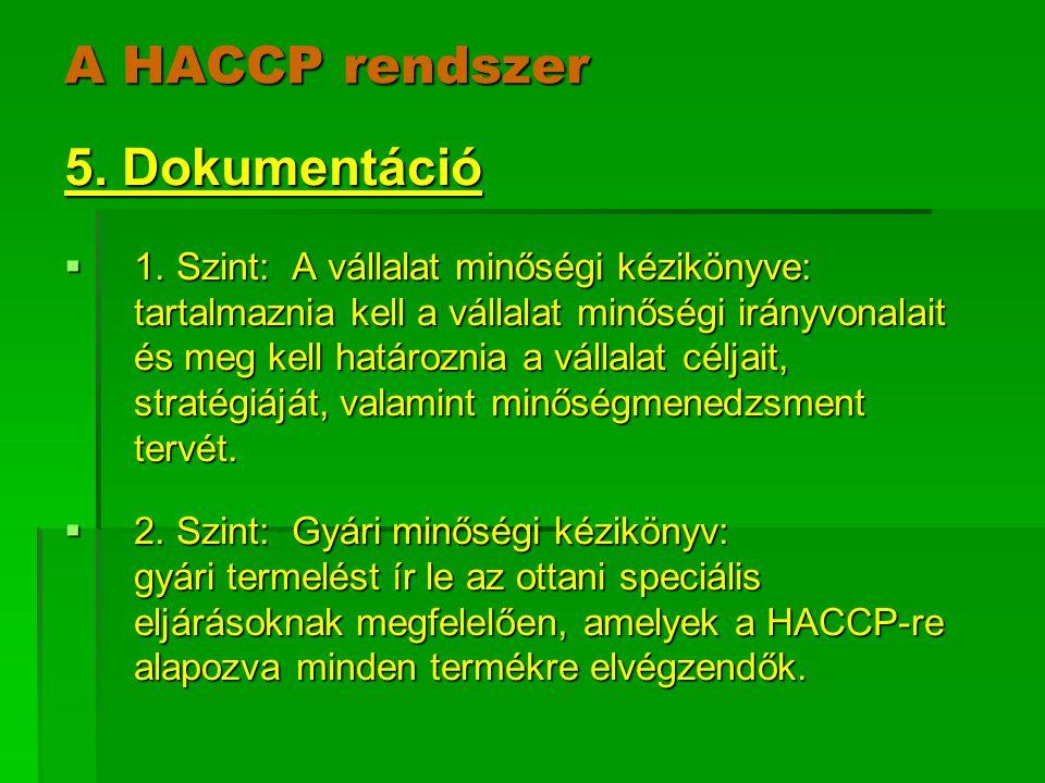 A HACCP rendszer 5. Dokumentáció  1. Szint: A vállalat minőségi kézikönyve: tartalmaznia kell a vállalat minőségi irányvonalait és meg kell határozni