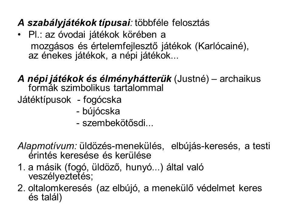 A szabályjátékok típusai: többféle felosztás Pl.: az óvodai játékok körében a mozgásos és értelemfejlesztő játékok (Karlócainé), az énekes játékok, a népi játékok...