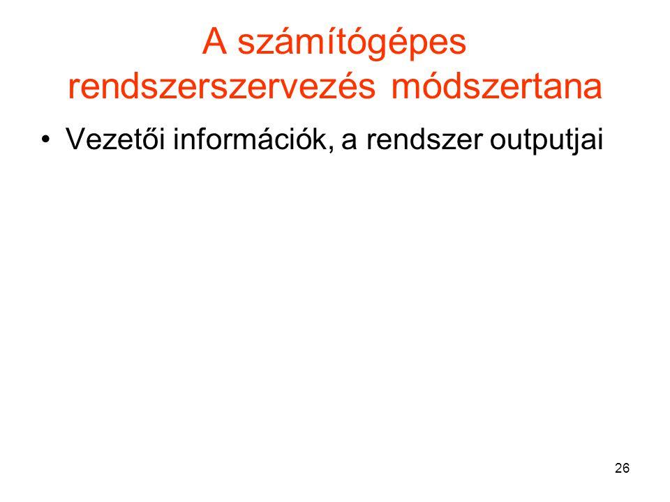 26 A számítógépes rendszerszervezés módszertana Vezetői információk, a rendszer outputjai