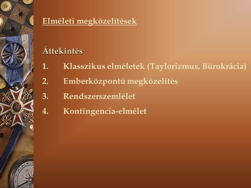 Elméleti megközelítések Áttekintés 1. Klasszikus elméletek (Taylorizmus, Bürokrácia) 2.