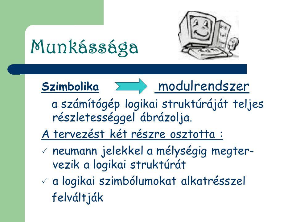 Munkássága Szimbolika modulrendszer a számítógép logikai struktúráját teljes részletességgel ábrázolja. A tervezést két részre osztotta : nneumann j