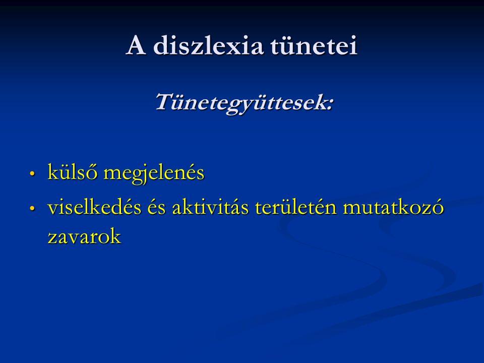 A diszlexia tünetei Tünetegyüttesek: külső megjelenés külső megjelenés viselkedés és aktivitás területén mutatkozó zavarok viselkedés és aktivitás ter