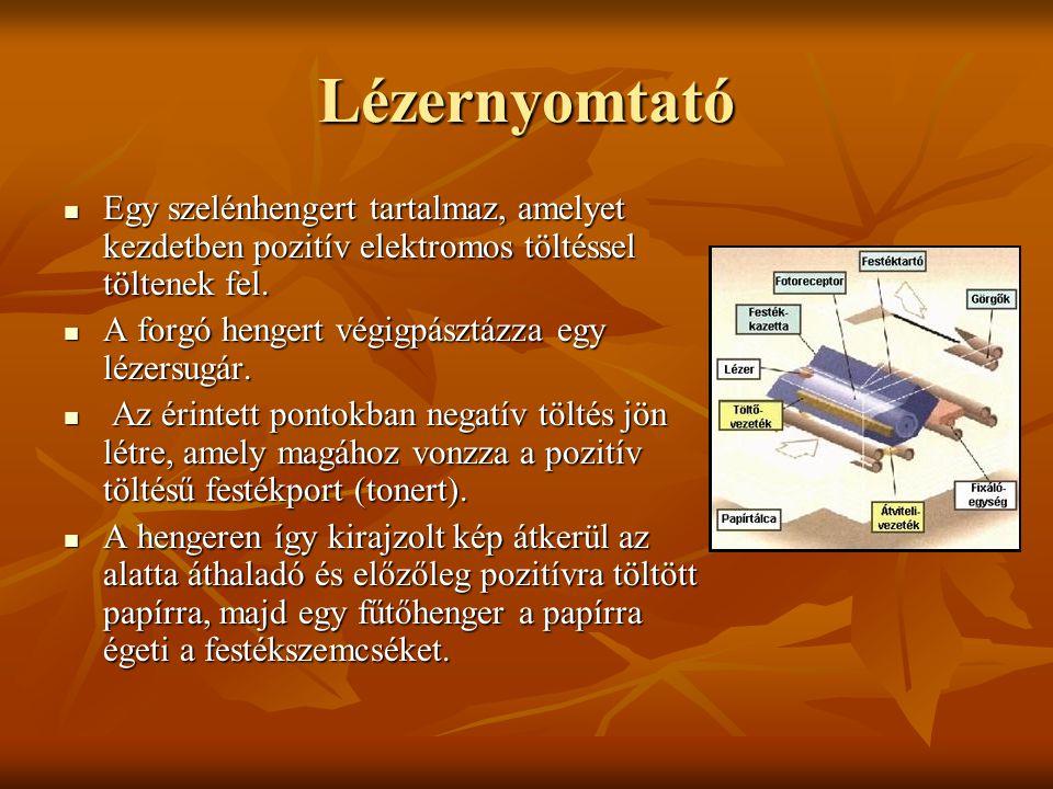 Lézernyomtató Egy szelénhengert tartalmaz, amelyet kezdetben pozitív elektromos töltéssel töltenek fel. Egy szelénhengert tartalmaz, amelyet kezdetben