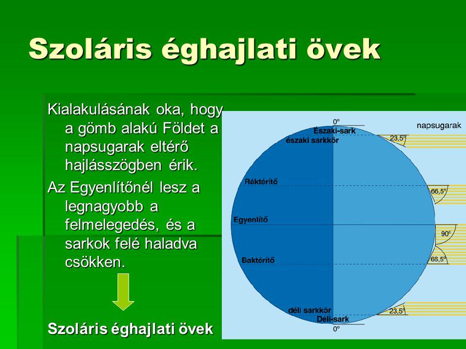 Szoláris éghajlati övek Kialakulásának oka, hogy a gömb alakú Földet a napsugarak eltérő hajlásszögben érik. Az Egyenlítőnél lesz a legnagyobb a felme
