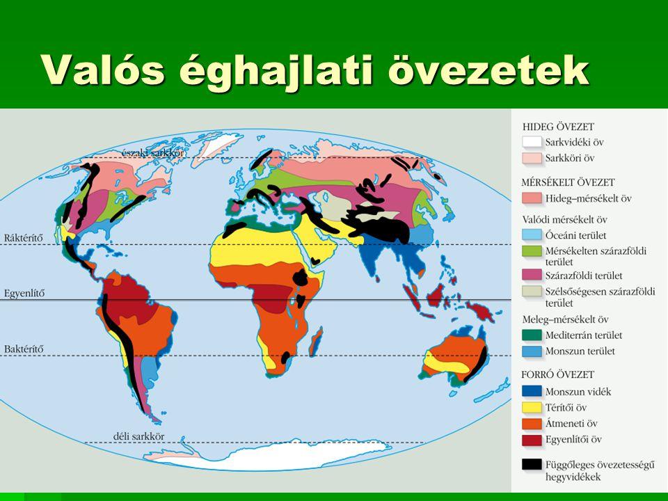 Földrajzi övezetek Az éghajlat, a természetes növénytakaró, a talaj, a felszínformálódás és az emberi tevékenység is zonalitást mutat, ezt nevezzük FÖLDRAJZI ÖVEZETESSÉGNEK.