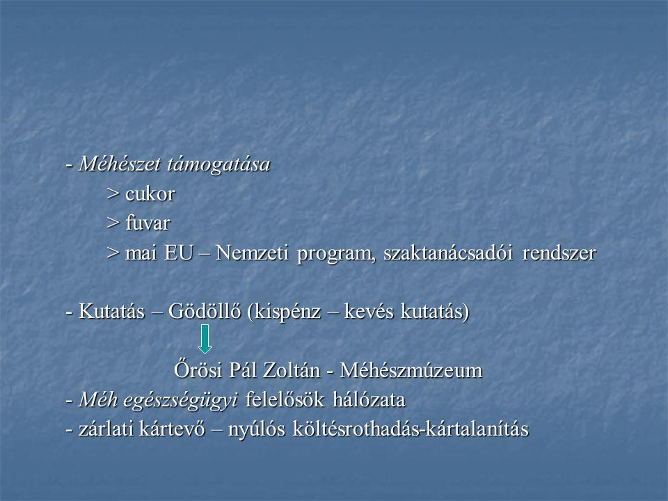 - Méhészet támogatása > cukor > fuvar > mai EU – Nemzeti program, szaktanácsadói rendszer - Kutatás – Gödöllő (kispénz – kevés kutatás) Őrösi Pál Zolt