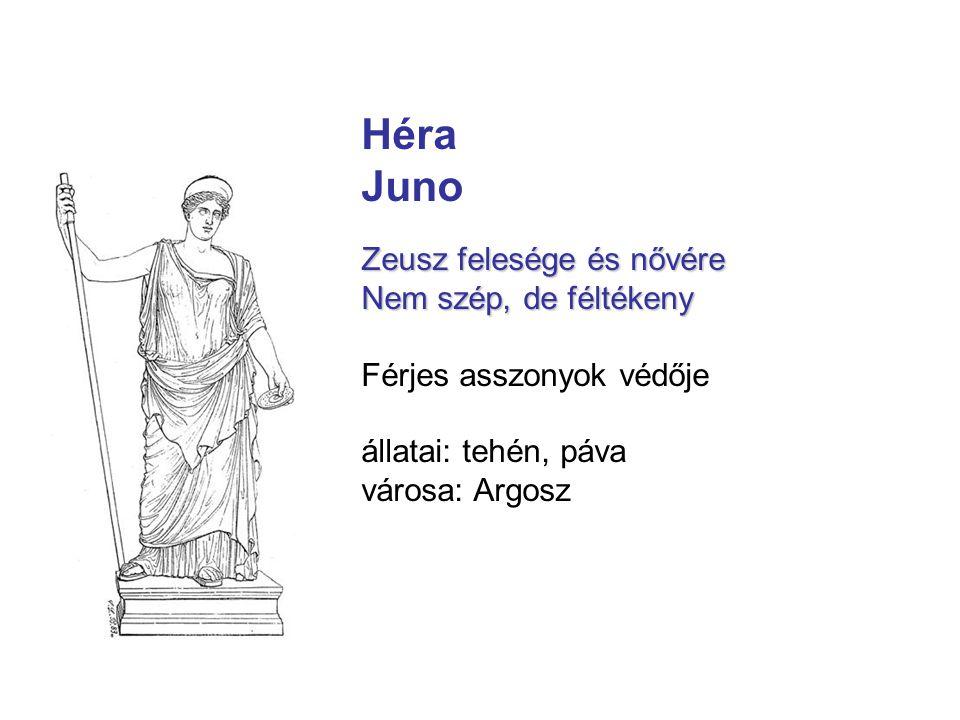 Héra Juno Zeusz felesége és nővére Nem szép, de féltékeny Férjes asszonyok védője állatai: tehén, páva városa: Argosz
