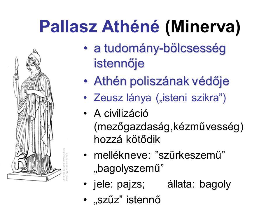 """Pallasz Athéné (Minerva) a tudomány-bölcsesség istennőjea tudomány-bölcsesség istennője Athén poliszának védőjeAthén poliszának védője Zeusz lánya (""""i"""
