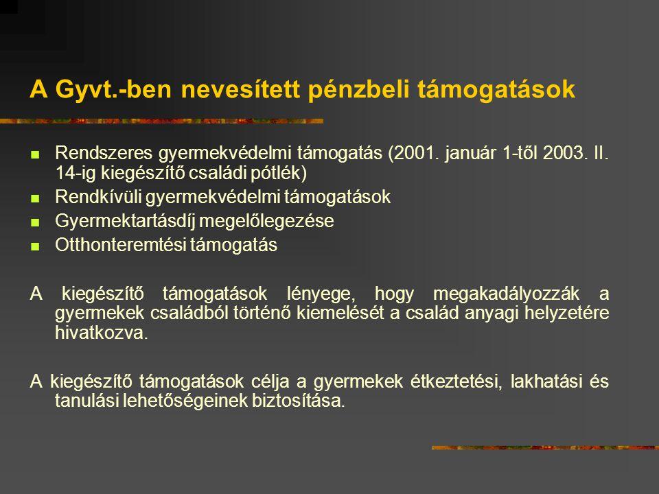 A Gyvt.-ben nevesített pénzbeli támogatások Rendszeres gyermekvédelmi támogatás (2001. január 1-től 2003. II. 14-ig kiegészítő családi pótlék) Rendkív
