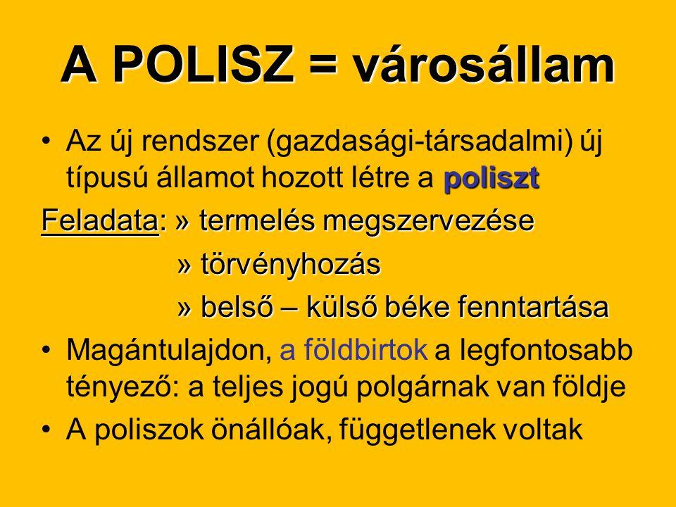A POLISZ = városállam polisztAz új rendszer (gazdasági-társadalmi) új típusú államot hozott létre a poliszt Feladata: » termelés megszervezése » törvé