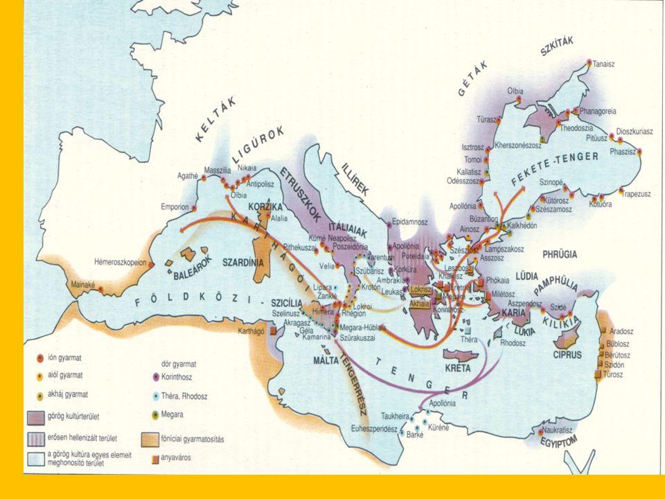 A görög gyarmatosítás A görög gyarmatosítás (i.e.VIII-VII.sz) Oka:- elszegényedés, - túlnépesedés Irányai: 3irány ÉK( Fekete-tenger ), NY( Itália ), D( Afrika ) új poliszok: Szürakuszai, Tarentum, Neapolis, Hatásai: Messalia, Trapezusz - Az arisztokraták befolyása csökken - A démosz erősödik (kézművesek,kereskedők) - iparosok, kereskedők, parasztok vagyonosodnak Megindul a harc a politikai jogokért a poliszokban
