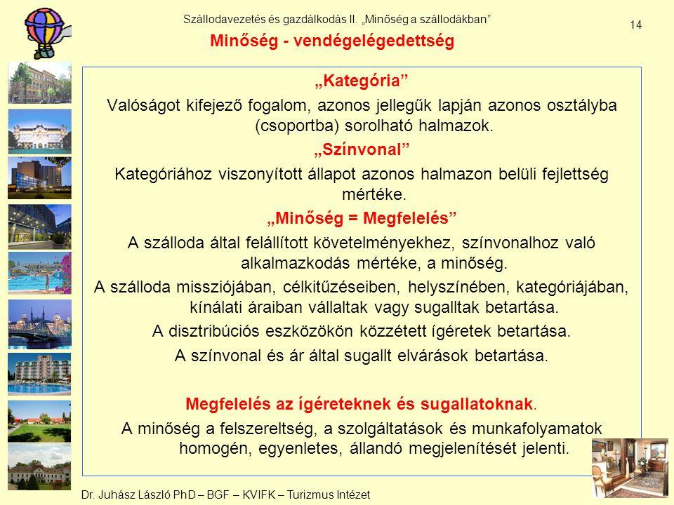 """Dr. Juhász László PhD – BGF – KVIFK – Turizmus Intézet Szállodavezetés és gazdálkodás II. """"Minőség a szállodákban"""" 14 Minőség - vendégelégedettség """"Ka"""